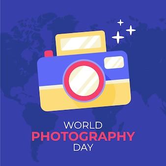 Fond de journée mondiale de la photographie dessiné à la main