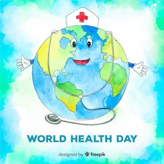 Fond de journée mondiale de la santé dessiné à la main