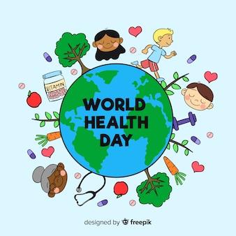 Fond de journée mondiale de la santé dessiné