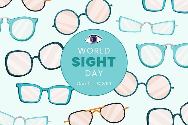 Fond de journée mondiale de la vue dessiné à la main
