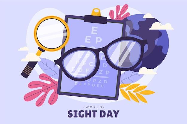 Fond de journée mondiale de la vue plat dessiné à la main