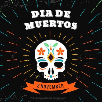 Fond de la journée des morts avec crâne en mexicana