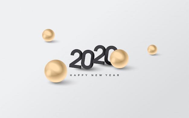 Fond de joyeux anniversaire 2020 avec chiffres noirs et illustrations de points dorés