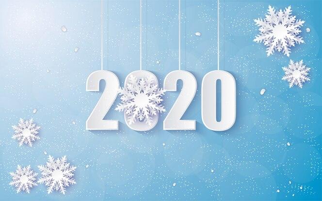 fond de joyeux anniversaire 2020 avec des nuances d'hiver