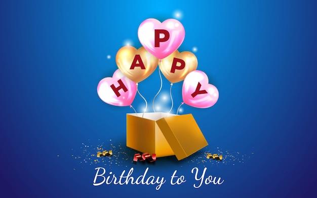 Fond de joyeux anniversaire avec un ballon d'amour en or et des ballons d'amour rose