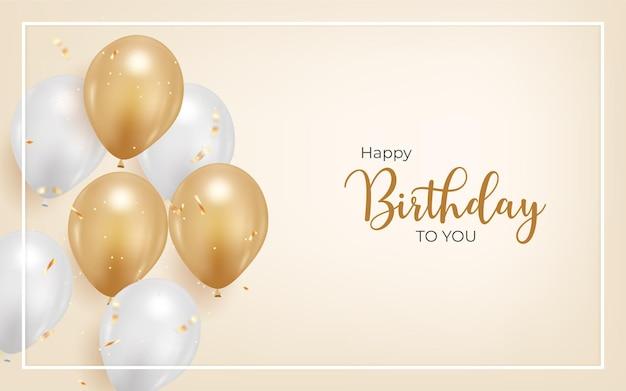 Fond de joyeux anniversaire avec ballon réaliste et confettis dorés