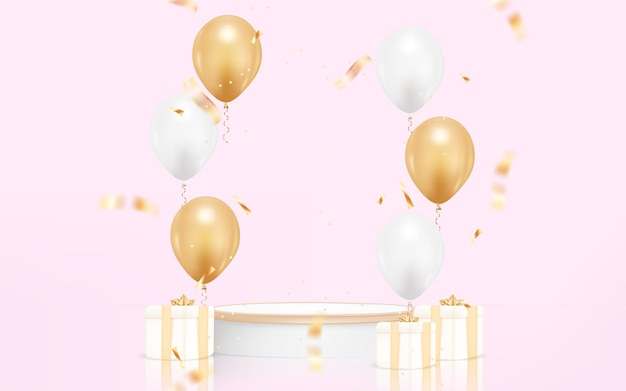 Fond de joyeux anniversaire avec ballon réaliste