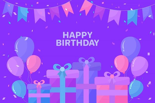 Fond de joyeux anniversaire avec des ballons et des cadeaux