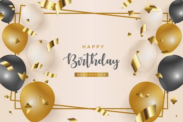 Fond de joyeux anniversaire avec des ballons et des rubans dorés dispersés