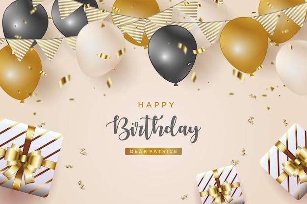 Fond de joyeux anniversaire avec des ballons et des rubans d'or