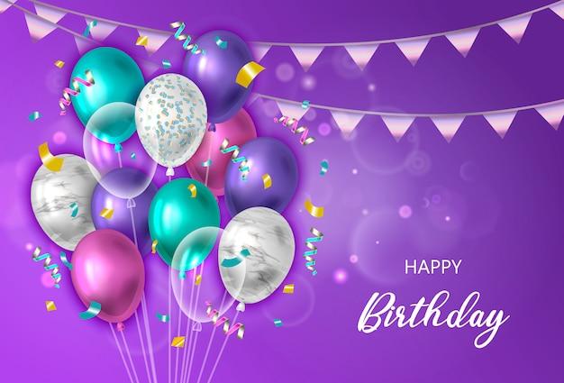 Fond de joyeux anniversaire avec des ballons.
