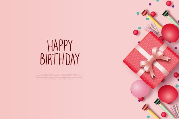 Fond de joyeux anniversaire avec une boîte cadeau rose