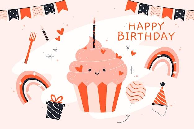 Fond de joyeux anniversaire dessiné à la main