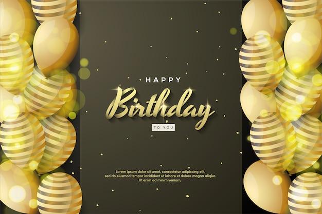 Fond de joyeux anniversaire avec écriture or et ballons 3d.