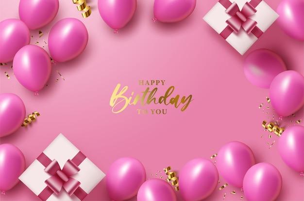 Fond de joyeux anniversaire avec une écriture rougeoyante décorée de coffrets cadeaux
