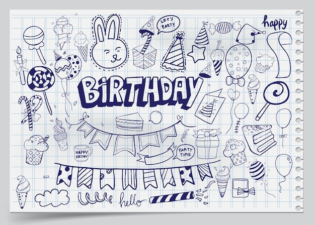 Fond de joyeux anniversaire. ensembles d'anniversaire dessinés à la main, éruptions de fête, chapeaux de fête, coffrets cadeaux et arcs, guirlandes et ballons et feu d'artifice, bougies sur tarte d'anniversaire.