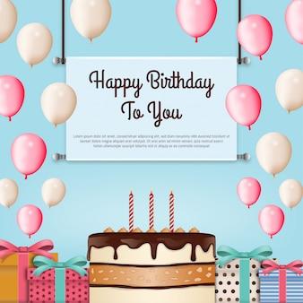 Fond de joyeux anniversaire avec gâteau
