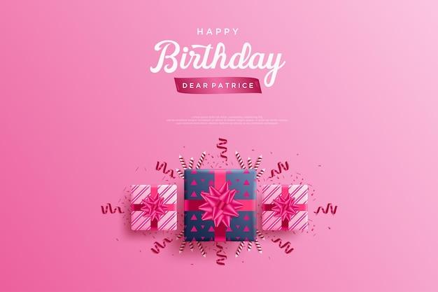 Fond de joyeux anniversaire avec trois beaux coffrets cadeaux