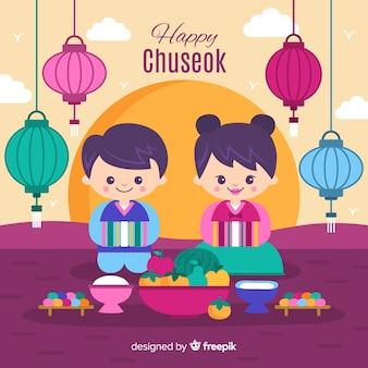 Fond de joyeux chuseok coréen