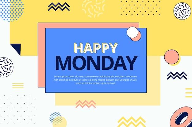 Fond de joyeux lundi dans le style de memphis