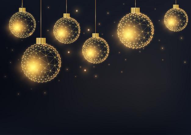 Fond de joyeux noël avec des boules rougeoyantes géométriques dorés sur fond noir