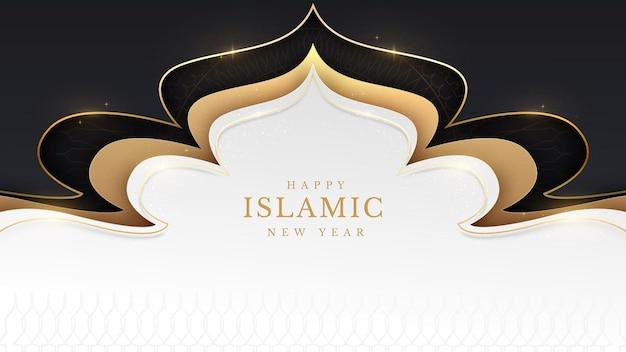 Fond de joyeux nouvel an islamique avec élément de ligne dorée étincelant. notion de luxe. illustration vectorielle pour la conception.