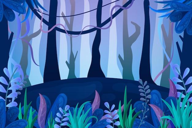 Fond de jungle de style dessin animé