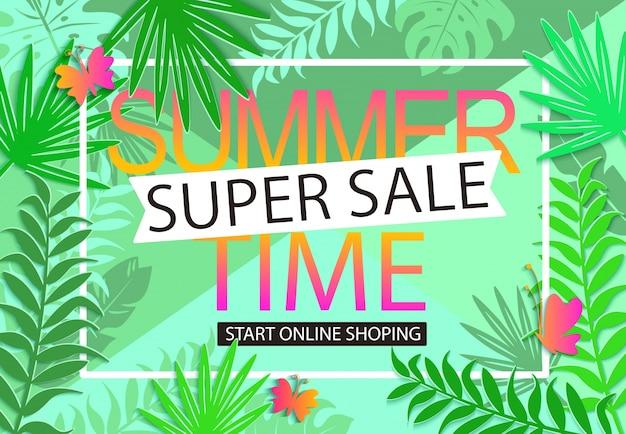 Fond de jungle de vente d'été.