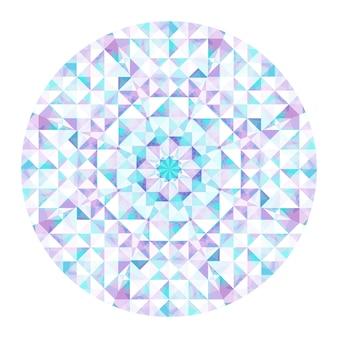 Fond de kaléidoscope. motif géométrique abstrait low poly. fond clair de triangle. éléments géométriques de triangle. abstrait triangulaire. kaléidoscope géométrique de vecteur.