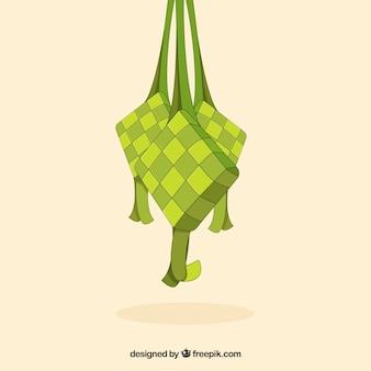 Fond de ketupat dans un style dessiné à la main