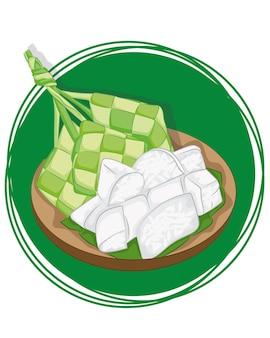 Fond de ketupat traditionnel. tranches de ketupat prêtes à manger.