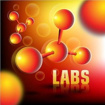 Fond de laboratoires avec des particules 3d