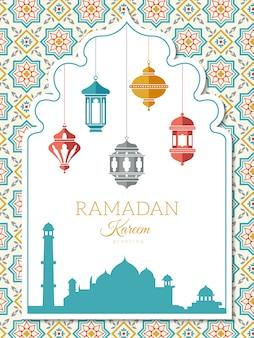 Fond de lampe arabe. bannière de décoration ramadan avec symboles de l'islam musulman lanternes illustration arabe