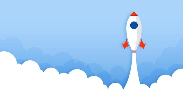 Fond de lancement de fusée avec de la fumée ou des nuages