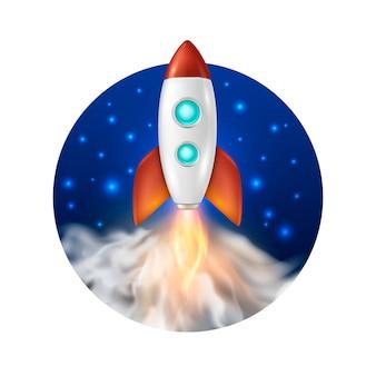 Fond avec lancement de fusée spatiale rétro