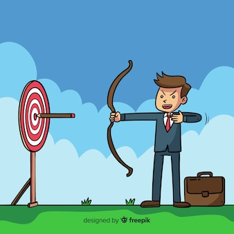 Fond de leadership archer dessin animé