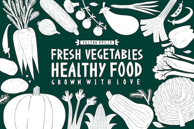 Fond de légumes dessinés à la main de dessin animé. graphique vert et blanc.