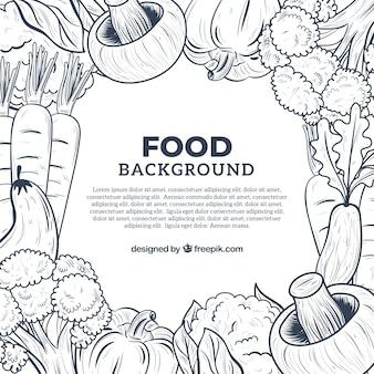 Fond de légumes dessinés à la main