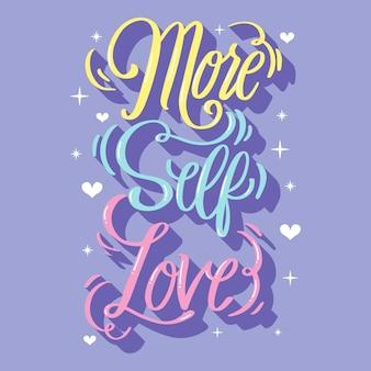 Fond de lettrage d'amour-propre avec coeurs