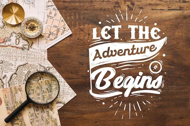 Fond de lettrage aventure / voyage avec photo