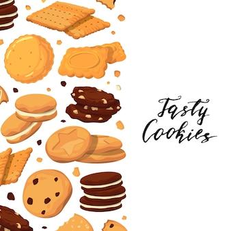 Fond avec lettrage et cookies de dessin animé