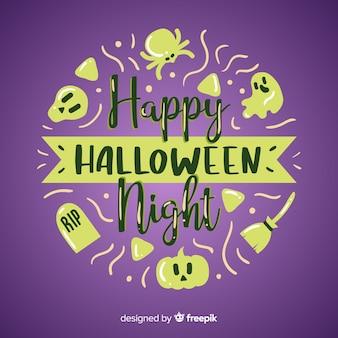 Fond de lettrage halloween heureux dessinés à la main