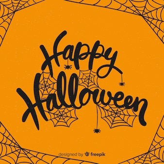 Fond de lettrage joyeux halloween créatif