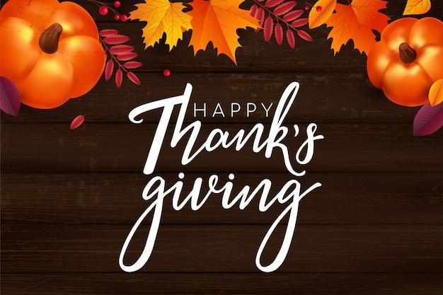 Fond de lettrage joyeux thanksgiving.