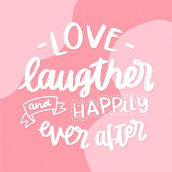 Fond de lettrage de mariage amour rire et joyeusement pour toujours