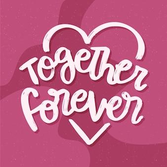 Fond de lettrage de mariage ensemble pour toujours