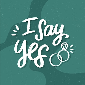 Fond de lettrage de mariage je dis oui