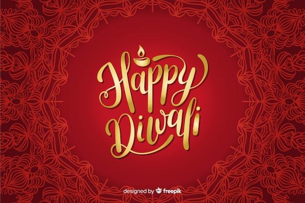 Fond de lettrage rouge diwali dessiné à la main