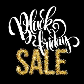 Fond de lettrage de vente golden black friday. modèle pour votre conception, invitation, flyer, carte, cadeau, bon, certificat et affiche. illustration vectorielle eps10