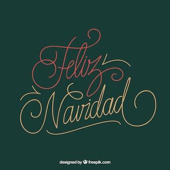 Fond de lettrage vert feliz navidad